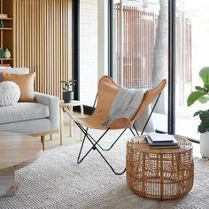 Small Rattan Side Table design Ideas You Will Love Eames Rocking Chair, Swivel Chair, Chair Cushions, Herman Miller, Reading Nook Chair, Rattan Side Table, Rattan Chairs, Pink Chairs, Leather Butterfly Chair