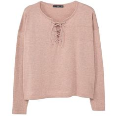 Braided Cord Sweater (110 DKK) ❤ liked on Polyvore featuring tops, sweaters, shirts, clothes - tops, long sleeve v neck shirt, pink long sleeve top, shirt sweater, extra long sleeve shirts and v neck sweater