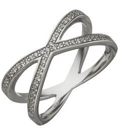 Damen Ring 925 Sterling Silber - 52275 - Schmuck & Uhren Paradies Heart Ring, Sterlingsilber, Rings, Jewelry, Silver Jewellery, Gents Bracelet, Gold Rings, Mens Jewellery, String Of Pearls