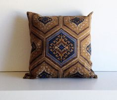 Southwestern Pillow Cover Denim Blue Saddle by PillowsByElissa