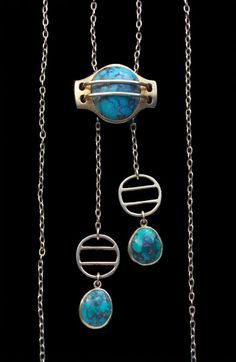This is not contemporary - image from a gallery of vintage and/or antique objects. MURRLE BENNETT & Co 1896-1916 Jugendstil Slide Pendant Gold Turquoise