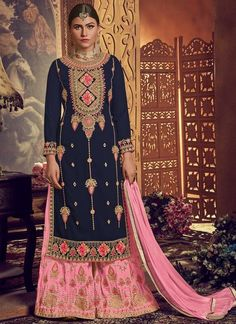 Make the heads flip as soon as you costume up with this blue faux georgette palazzo designer salwar kameez. The embroidered work appears to be like chic and ideal for festival, reception and wedding. Comes with matching bottom and dupatta. Buy Salwar Kameez Online, Latest Salwar Kameez, Pakistani Salwar Kameez, Designer Salwar Suits, Designer Anarkali, Indian Dresses, Indian Outfits, Palazzo Suit, Sari Silk