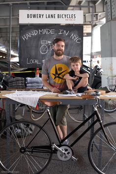 father and son at the bike shop!