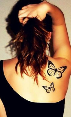 3D majestic butterflies tattoo on shoulder.
