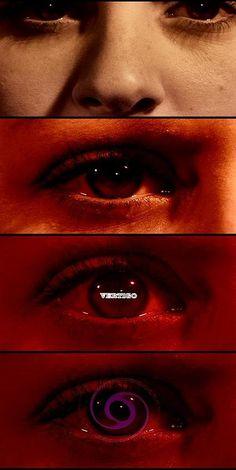 Stills from the opening credit sequence  of Vertigo, designed by Saul Bass.