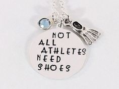 """Not All Athletes Need Shoes"" Charm Necklace with Sterling Silver Swim Fin Charm and Swarovski Crystal Birthstone"