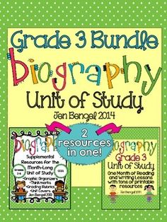 This bundle includes everything you need to teach and assess for a month long unit of study on biography in the reading and writing workshops! There are 40 CCSS detailed lessons, chart examples, printable graphic organizers and thinkmarks for every reading lessons, writing rubrics, and much more!