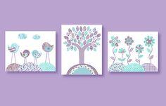 Bird Nursery Art Print Aqua and Purple Nursery Tree Art Set of three prints Girl's Room Decor Purple Lavender Flowers 8 x 10 or 11 x 14
