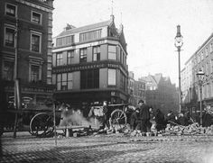 Roadworks on Grafton St. wallpaper containing a city scene, a downtown, and a brownstone in The Dublin Club Ireland Pictures, Old Pictures, Old Photos, Vintage Photos, Dublin Street, Dublin City, Grafton Street, Photo Engraving, Ireland Homes