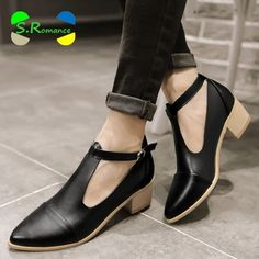 Women Ankle Boots Plus Size 32-43 Oxford Med Square Heel High Quality Buckle Strap Woman New Fashion Spring Autumn Shoes SB551