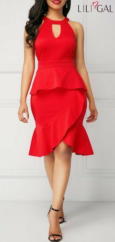 Dresses For Women Red Peplum Dresses, Women's Fashion Dresses, Dress Skirt, Elegant Dresses, Casual Dresses, Girls Dresses, Dresses Dresses, Club Party Dresses, Dress Patterns