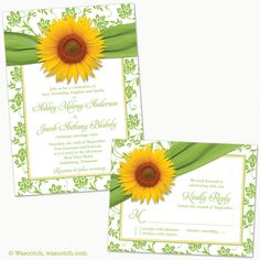Sunflower Green Yellow Damask Floral Ribbon Wedding Invitation and RSVP Reply Card Printed