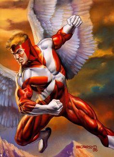 X Men / Archangel / Red / 1996 (Boris Vallejo) Comic Book Artists, Comic Book Characters, Marvel Characters, Comic Character, Comic Books Art, Comic Artist, Heros Comics, Marvel Comics Art, Marvel Heroes