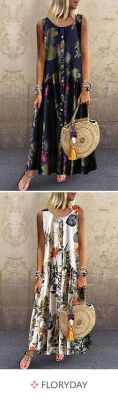 Floral sleeveless maxi A-line dress, floral dress, elegant, fashion style. Source by floryday Dresses Floryday Dresses, Women's Fashion Dresses, Summer Dresses, Dresses Online, Simple Dresses, Cute Outfits With Jeans, Casual Fall Outfits, Leather Leggings Look, Affordable Dresses