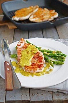Chicken in mustard sauce with asparagus
