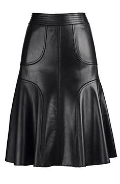 Leather A-Line Skirt with interesting added seam lines.  Black faux leather: http://www.MJTrends.com/products.Black,Matte-Vinyl,Fabric