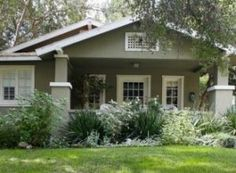 Exterior Paint Colors and Its Impression : California Bungalow. A beautiful california bungalow in a historic neighborhood. Green Exterior Paints, White Exterior Paint, Exterior Paint Colors For House, Paint Colors For Home, Paint Colours, Exterior Colors, Exterior Shutters, Black Exterior, Neutral Colors