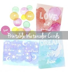 FREE Watercolor Cards - June Printable - Pine & Plum