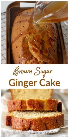 A beautifully golden Brown Sugar Ginger Loaf cake super moist by the syrup that . A beautifully golden Brown Sugar Ginger Loaf cake super moist by the syrup that is infused while th Cake Recipes From Scratch, Loaf Recipes, Pound Cake Recipes, Easy Cake Recipes, Baking Recipes, Dessert Recipes, Desserts, Fruit Cake Loaf, Ginger Loaf Cake