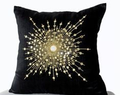 Decorative Throw Pillows -Premium Beaded Pillow -Pure Silk Gold Starburst Pillows -Sheesha Pillows -Gift -Mirror pillow pillows Shop online for handmade silk gold pillow with mirrors. Decorative black throw pillows at Casa Amore International. Black Pillow Covers, Black Throw Pillows, Gold Pillows, Cushion Covers, Couch Pillows, Decorative Cushions, Decorative Pillow Covers, Gold Starburst Mirror, Silk Pillow