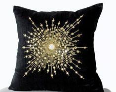 Decorative Throw Pillows -Premium Beaded Pillow -Pure Silk Gold Starburst Pillows -Sheesha Pillows -Gift -Mirror pillow pillows Shop online for handmade silk gold pillow with mirrors. Decorative black throw pillows at Casa Amore International. Black Pillow Covers, Black Throw Pillows, Gold Pillows, Cushion Covers, Couch Pillows, Decorative Pillow Covers, Decorative Throw Pillows, Handmade Pillows, Gold Starburst Mirror