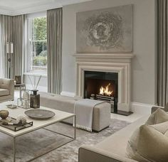 Déco Salon – all taupe living room in different shades has a cool soothing effect… Taupe Living Room, Elegant Living Room, Elegant Home Decor, Formal Living Rooms, Elegant Homes, Living Room Interior, Home Living Room, Living Room Designs, Living Spaces