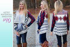 Aztec Waterfall Sweater facebook.com/dressmetrendyboutique