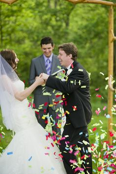 Confetti Ceremony Celebration-When we turn and get announced as husband and wife, have the bridal party and the parents/grandparents have confetti poppers!! That would be such a cool picture and all the other guests would be really surprised!