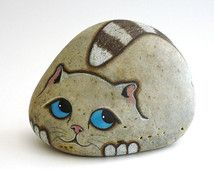 Hand Painted River Rock Cat, Door Stop. Petrified Cat