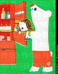 Bear lifting child by Mamoru Yamamoto