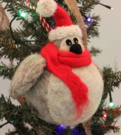 Needle Felted Fat Penguin Ornament