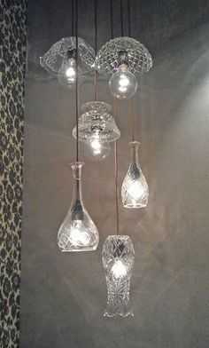 Lamps made from old glass bowls, vases and decanters. Seen at Glasets Hus in Limmared. #LampShades
