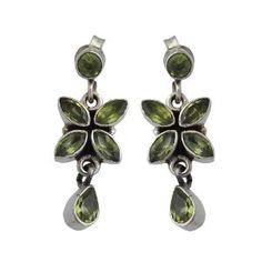 Cadeau de valentin fait main - Boucles d'oreilles gemmes Péridots - Bijoux fait main en argent et pierres semi-précieuses vertes - Mode indienne pour femme