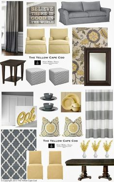 Yellow and Grey Living Room/Kitchen http://www.theyellowcapecod.com Yellow Living Rooms, Living Room Yellow Curtains, Grey Loving Room Ideas, Living Room Decor Yellow And Grey, Yellow And Grey Curtains, Grey Carpet Living Room, Light Yellow Walls, Yellow Family Rooms, Curtains For Grey Walls
