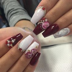 AWESOME nail art in coffin shaped nails. Deep cherry polish with rose nail art, stones and studs. 3d Nail Art, 3d Nails, Cute Nails, Pretty Nails, Nail Nail, Nail Polishes, Beautiful Nail Designs, Cute Nail Designs, Acrylic Nail Designs
