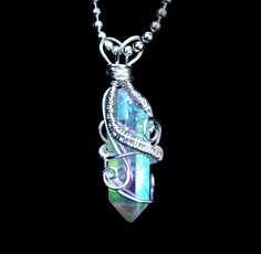 SOLD - Angel Aura Pendant Necklace - Super Flash - Opal Rainbow Flash Quartz Crystal - Wire Wrapped Silver Copper Core Wire - OOAK