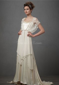 cape sleeves draping satin sheath wedding dress - uucdress.com