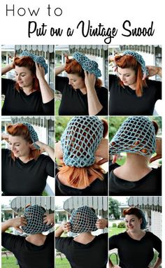 how to put on and wear a vintage pin up style hair snood net worksHow To Wear Headbands With Short Hair Website IdeasI've had a lot of questions about how to wear snoods. Even at craft shows, ladies ask \Browse free vintage patterns, retro hair tutorials Vintage Hairstyles Tutorial, 1940s Hairstyles, Wedding Hairstyles, Hairstyles Haircuts, Snood Pattern, Crochet Snood, How To Wear Headbands, Retro Updo, 1940s Fashion
