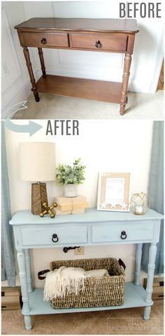 """Beautiful """"beachy"""" blue side table makeover with chalk paint. Try Blake & Taylor… Beautiful """"beachy"""" blue side table makeover with chalk paint. Try Blake & Taylor Chalk Furniture Paint in 'French Blue' for a slight variation on this project! Refurbished Furniture, Repurposed Furniture, Cool Furniture, Furniture Design, Furniture Ideas, Vintage Furniture, Furniture Websites, Furniture Movers, Rustic Furniture"""