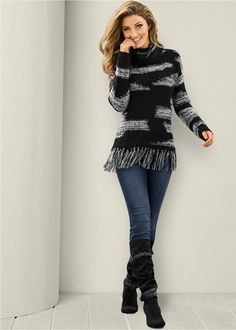 Venus Women's Contrasted Fringe Sweater Sweaters - Black/white, Size M Trendy Outfits, Fall Outfits, Cute Outfits, Fashion Outfits, Fashion Trends, Fashion Vest, Fashion 2016, Fashion Lookbook, Street Fashion