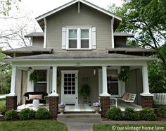 Home Exterior. Nice gray and white color scheme, symmetrical porch opening. Lower brick columns to porch posts gives a look of a craftsman bungalow--but more open. Love this house Exterior Gray Paint, Exterior House Colors, Grey Paint, Veranda Design, Front Porch Design, Porch Designs, Front Porches, Summer Porch, Spring Summer