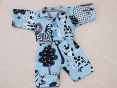 Waldorf Doll Clothes-Two piece Doll Blue Flannel by ToysWorkshopWE