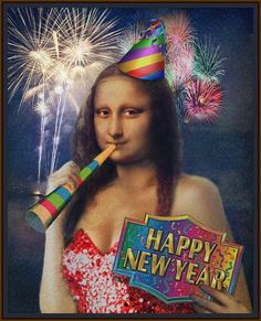 Happy New Year Mona Lisa Mona's New Year.by The Whimsey Asylum Mona Friends, La Madone, Mona Lisa Parody, Mona Lisa Smile, Collage Art, Happy New Year, Funny Pictures, Illustration, Artwork