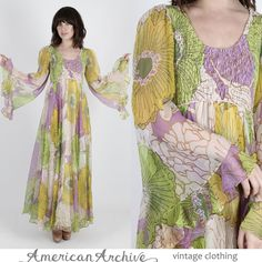 Vintage 70s Boho Wedding Dress Sheer Floral Chiffon Angel Kimono Cocktail Maxi M #Unbranded #Maxi