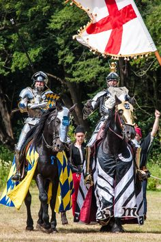 Mark Caple and Lord Edward Stacy on the way to a team win for England at the International Joust tournament.