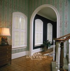 Arched window before with blinds and after with for Alternative to plantation shutters