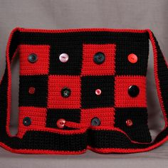 Hand crocheted black and red check bag, handbag, purse by Knits And Bobs on Etsy, £20.00. Handmade. Crochet