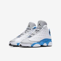 check out 10245 c1760 Air Jordan 13 Retro - White Wolf Grey Black Italy Blue