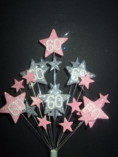 STAR BIRTHDAY CAKE TOPPER PALE PINK+SILV 18th 21st 30th 40th 50th 60th 70th 80th  | eBay