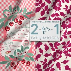 2 tea towel fabric = 14$ !!! Add two fat quarters to your cart and you will get half off the regular price. The discount will be calculated automatically and the promotional price will appear in your shopping cart. ________________________ Offer is valid from 12:00 a.m. EDT Thursday, November 2, 2017  through 11:59 p.m. EST Thursday, November 9, 2017.